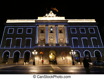 Municipality Palace at night, Barcelona, Catalonia, Spain