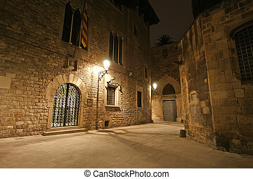Gothic quarter at night Empty alleyways in Barcelona