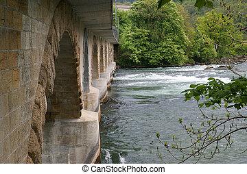 bridge over the Rhine. Waterfall Rhinbridge e Falls...