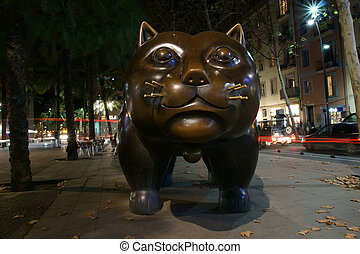 Botero cat, the Colombian artist Fernando Botero on the...
