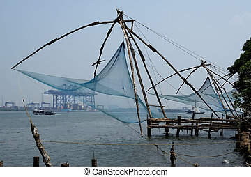 Chinese fishing nets, Cochin, South India