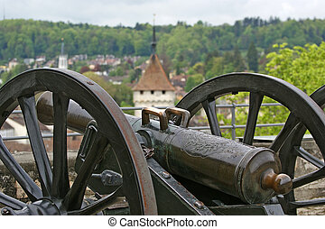 Medieval cannon to fire nuclei Switzerland, city Stein am...