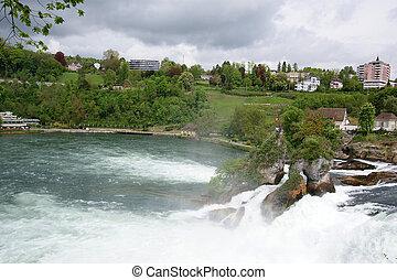 Waterfall Rhine Falls (Rheinfall) at Schaffhausen in...