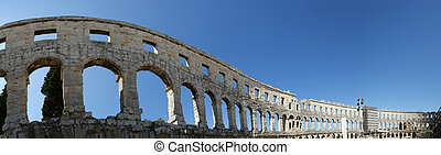 Panoramic view of the Arena colosseum in Pula, Croatia