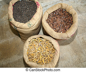 Indian spices - turmeric, anise, black pepper