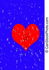 Unrequited love, a big red heart with drops of tears