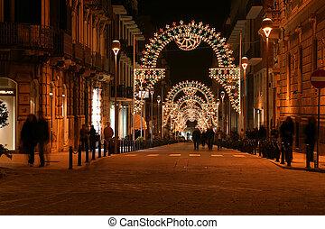 Ancient streets of Syracuse Siracusa, Sarausa at night--...