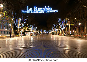 Night view of the La Rambla. Catalonia, Spain