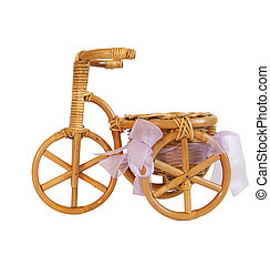 Souvenir figurine of a bicycle on white background
