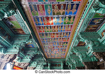 Ceiling Meenakshi Sundareswarar Temple in Madurai, South...
