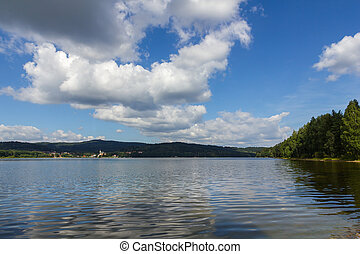 Lipno lake, Czech Republic. - Lipno lake and small town...