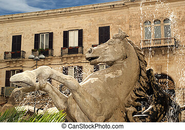 Artemide fountain. Syracuse (Siracusa, Sarausa)-- historic...