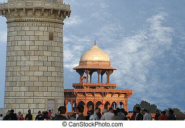 mausoleum Taj Mahal is a located in Agra, India - The Taj...