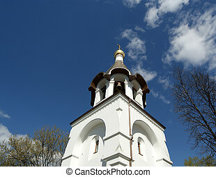 The bell tower of the Orthodox Church. Moscow, Russia....