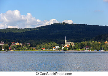 Lipno lake, Czech Republic. - Frymburk - small town near...