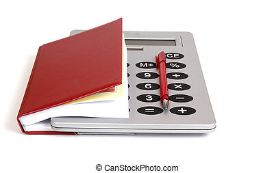 Great calculator and red notebook for reference daily notes with a pen on a white background