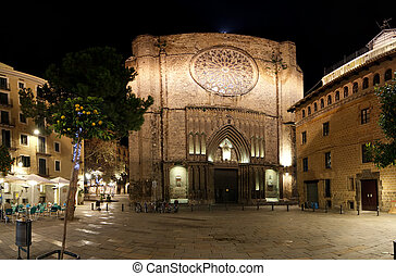 Main facade of Santa Maria del Pi at night -- is a 14th...