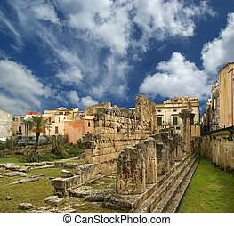 Ancient Greek APOLLO'S TEMPLE . Syracuse (Siracusa,...
