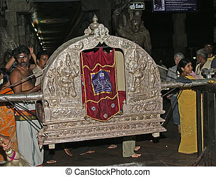 Religious ceremony in a Hindu temple Meenakshi in Madurai,...