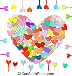 love - contains many colorful hearts in a vector...