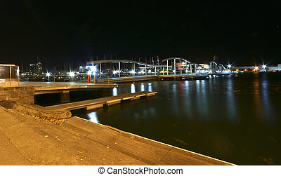 Barcelona Harbor near Las Ramblas at night. Catalonia, Spain...