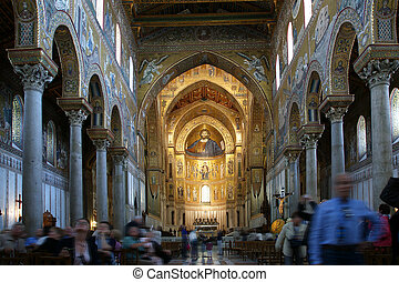 The interior Cathedral-Basilica of Monreale, is a Roman...
