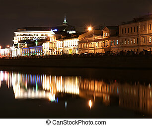 Russia, Moscow Center, night view panorama on the drain...