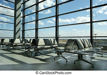 Airport gates, modern architecture of the airport terminal...