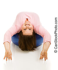 Upside Down on Pilates Ball - Beautiful full figured model...