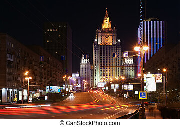 Moscow, Russia. Night. The Ministry of Defence of the...