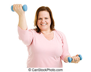Workout Routine - Beautiful plus-sized model working out...
