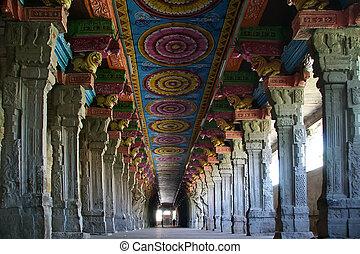 Inside of Meenakshi hindu temple in Madurai, Tamil Nadu,...
