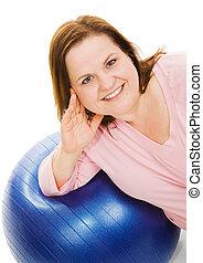 Beautiful Woman on Pilates Ball