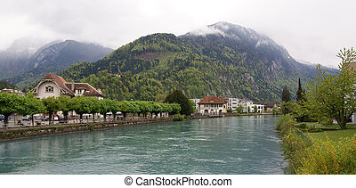 Switzerland, Interlaken. view of a small river in the downtown