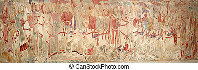 Panoramic image of the medieval frescoes