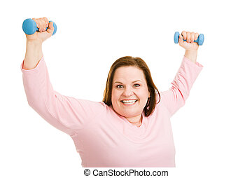 Successful Workout - Beautiful plus-sized model excited over...