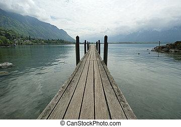 Trä, mulet, insjö, Yachter, Vatten, bakgrund, fartyg, Pir,...