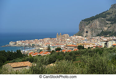 View of the Cefalu. Cefalu is a delicious historic and turistic town in the Palermo's area. Sicily, Italy.