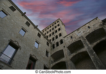 Buildings in the Gothic Quarter of Barcelona, Spain