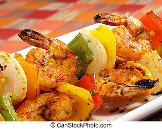 Sizzling Shrimp Kebabs - A platter of spicy shrimp kebabs...