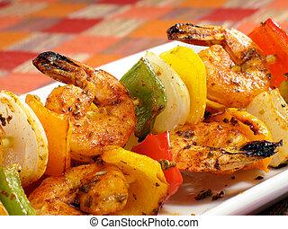 Sizzling Shrimp Kebabs - A platter of spicy shrimp kebabs...
