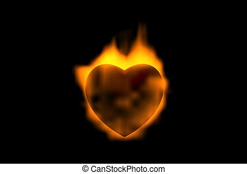 heart in flame of love 3d abstract concept