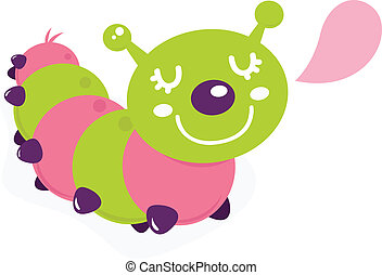 Cute cartoon caterpillar isolated on white pink and green -...