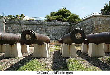 ancient cannon on the fortress town of Pula, Croatia