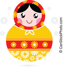 Cute wooden Russian doll - Matrioshka yellow and red -...