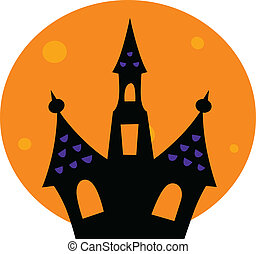 Halloween Haunted house with moon behind - Haunted house...