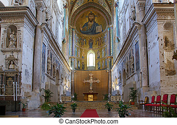 The Christ Pantokrator Cathedral-Basilica of Cefalu, is a...