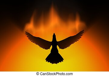 phoenix rising in fire 3d concept