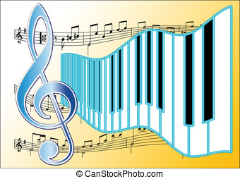 Piano Music - Piano Keyboard and musical symbols
