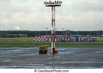 Radar-tracking tower with aerials at the airport - Metal...